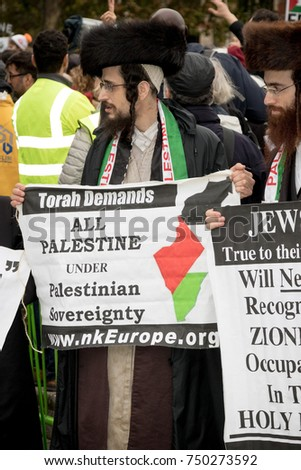 4th November 2017, London, United Kingdom:-Jewish men protesting Israel at a pro Palestine rally in Parliment Square