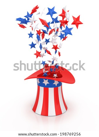 4th of July celebration hat isolated on white. - stock photo