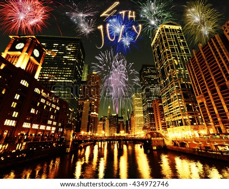 4th of July fireworks in Chicago - stock photo