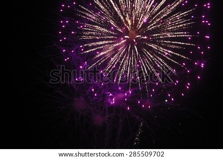 4th of July Fireworks - Purple and White - stock photo