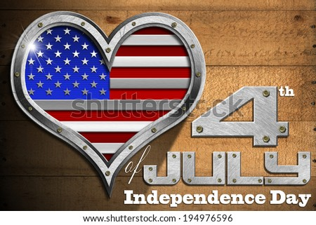 """4th of July - Independence Day / Metal porthole heart shape with US flag interior, on wooden wall with phrase """"4th of July - Independence Day"""" - stock photo"""