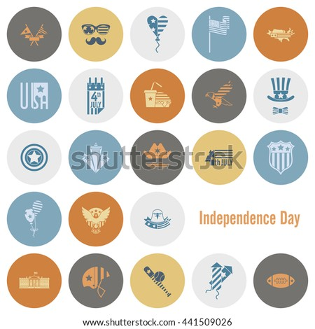 4th of July, Independence Day of the United States, Simple Flat Icons.