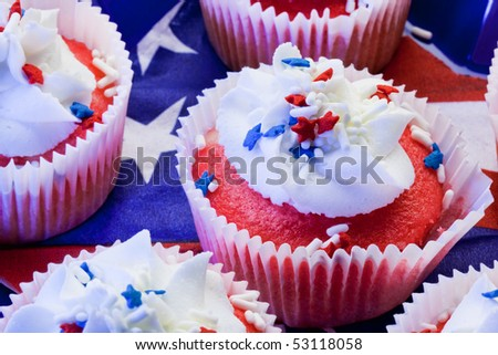 4th of July red white and blue cupcakes - closeup - stock photo