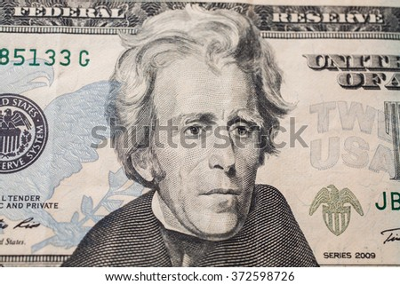 7th President of the United States, Andrew Jackson Portrait on twenty dollar bill, money background ,twenty dollar bills front side obverse. background of dollars, close up, America