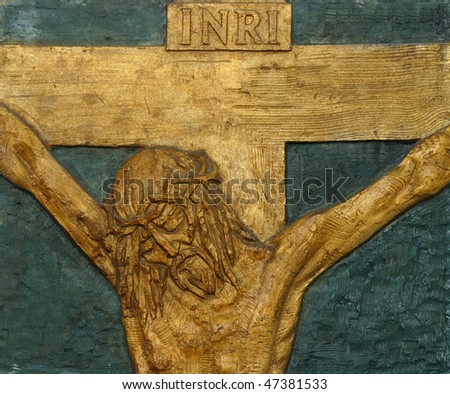 12th Station of the Cross - Jesus dies on the cross - stock photo