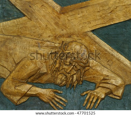 7th Station of the Cross, Jesus falls the second time - stock photo