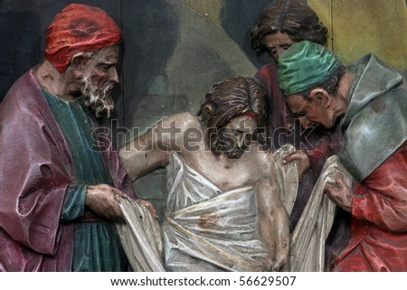 14th Stations of the Cross, Jesus is laid in the tomb and covered in incense