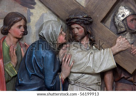 4th Stations of the Cross, Jesus meets His Mother - stock photo