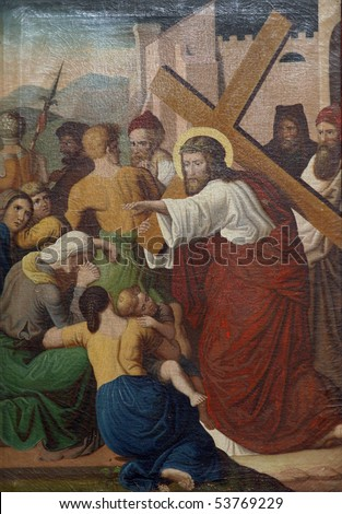 8th Stations of the Cross, Jesus meets the daughters of Jerusalem - stock photo