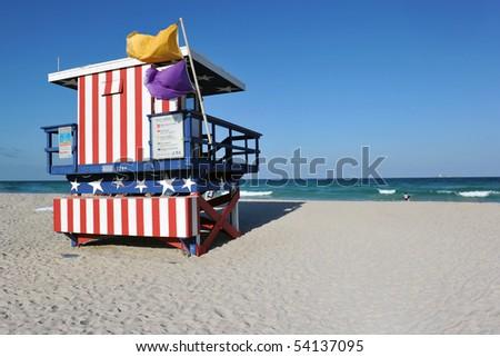 13th Street Lifeguard station on South Miami Beach, Florida - stock photo