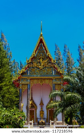 Thai Buddhist Church, Srisoonthorn temple, Phuket, Southern of Thailand - stock photo