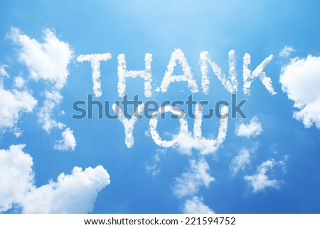 """thank you"" a cloud word on sky - stock photo"