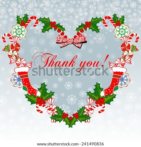 Thank you card. Christmas.heart with ribbon, Colorful design. Raster illustration.  - stock photo