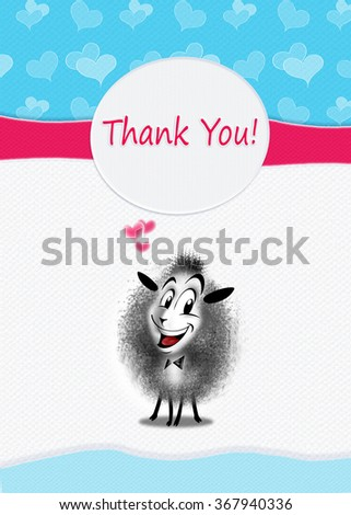 """""""Thank you!"""" greeting card design. Digital Illustration with one cute sheep. You can share your card on social media, to print this card or send it in a email. - stock photo"""