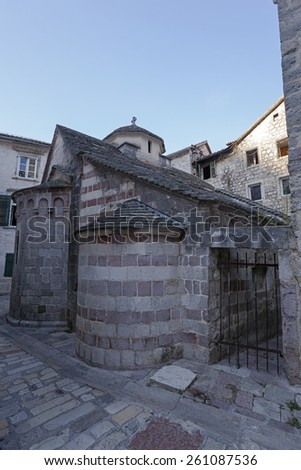 the ancient city of Kotor located in Montenegro - stock photo