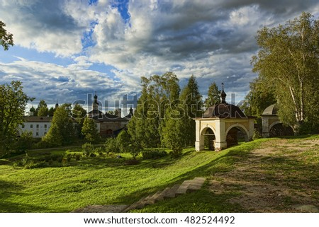the Ancient Russian northern monastery  in summer