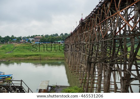 The beautiful of Mon wooden bridge at Sangklaburi, Thailand