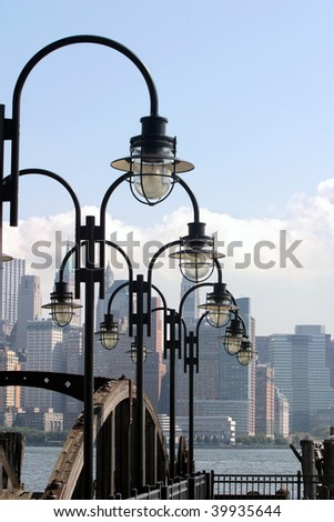 The beautiful rhythm of lights against the backdrop of Manhattan in New York. - stock photo
