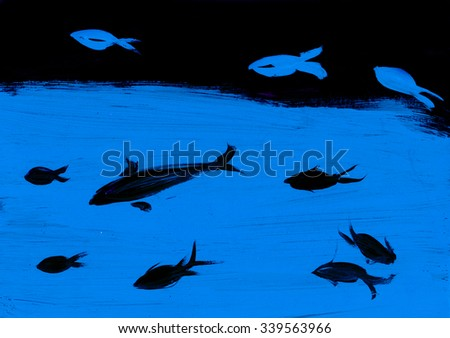 The black and blue silhouette of fish, drawing, drawing - stock photo