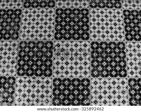 The black and white of tile pattern