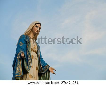 the Blessed Virgin Mary blue sky background Chanthaburi, Thailand - stock photo