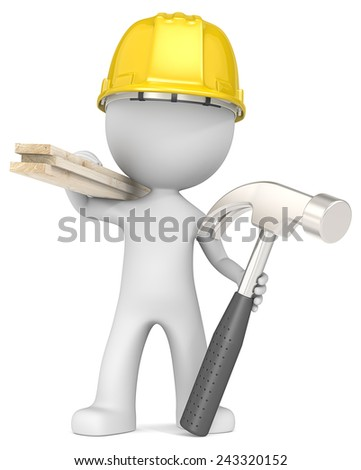 The Carpenter. Dude the Carpenter holding planks and hammer. - stock photo