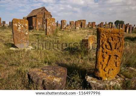 The cemetery of Noratus with more than 900 khachkhars, Armenia - stock photo
