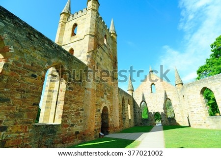 """The Church"" at the Port Arthur Historical site, part of over 30 buildings, ruins and restored period homes set in 40 hectares of landscaped grounds - stock photo"