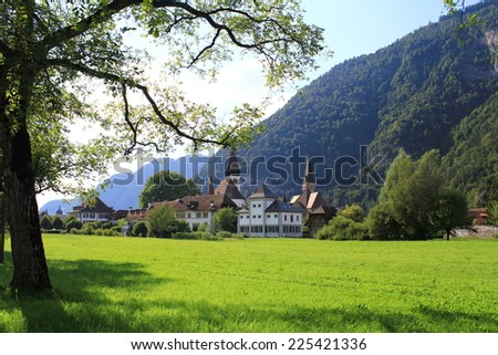 The churches of the town of Interlaken in the Swiss canton of Bern. - stock photo
