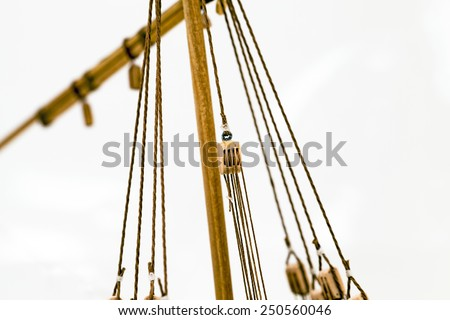 the details of model of the ship made manually of a tree.  photographed by a close up - stock photo