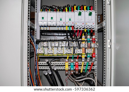 stock photo the electrical box contains many terminals relays wires and switches 597336362 electrical box stock images, royalty free images & vectors electrical wiring boxes at bayanpartner.co