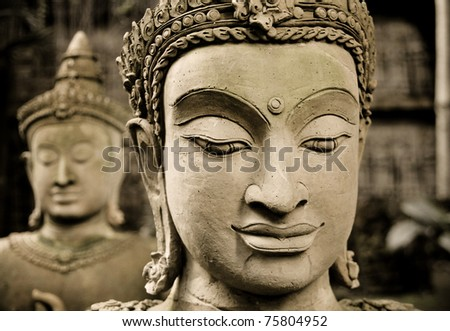 the face of Buddha - stock photo