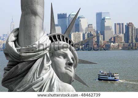 The famous Statue of Liberty on an island in New York City - stock photo