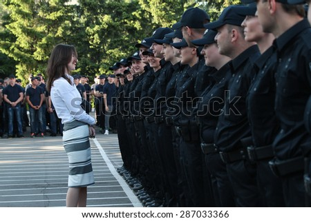 12/6/15 The first deputy minister of Ukraine talking to the first recruits of the new patrol police of ukraine
