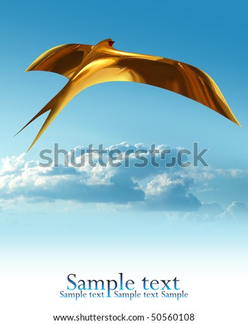 The first golden swallow on blue sky - stock photo