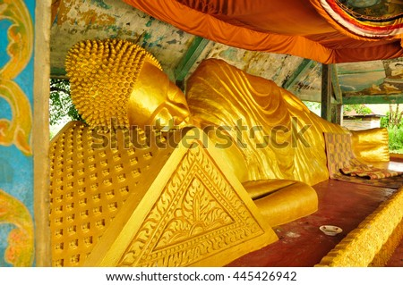The giant Reclining Buddha in Sihanouk Ville , Cambodia - stock photo