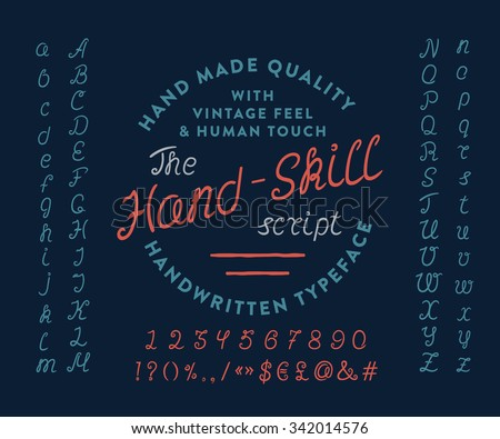 74 THE HAND-SKILL SCRIPT. Hand crafted retro vintage typeface design. Original handmade  lettering type alphabet on navy background. Authentic handwritten font, vector letters. - stock photo