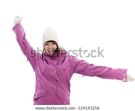 The happy girl in winter clothes - stock photo