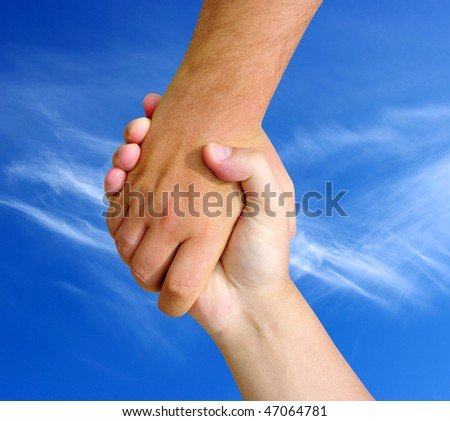 the helping hand on sky - stock photo
