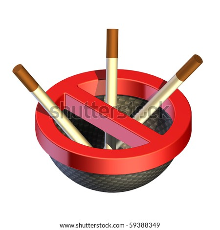 the image of a prohibiting sign in the form of an ashtray with cigarettes - stock photo