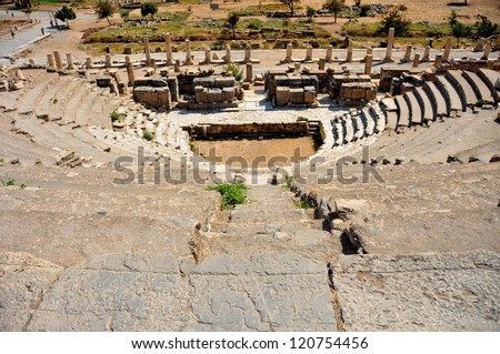 The impressive ruins of the ancient Odeon theater in Ephesus, Turkey. It was constructed in 150AD - stock photo