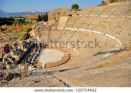 The impressive ruins of the ancient Theater in Ephesus, Turkey. It is believed to be the largest outdoor theater in the ancient world - stock photo