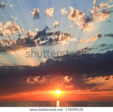 The ocean and a sunset - stock photo