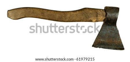 The old jagged axe on  white background - stock photo