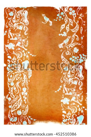 The patterns on the background of Old paper isolated on white - stock photo
