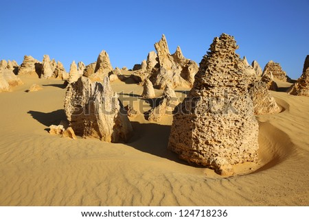 The Pinnacles in Nambung National Park. Western Australia - stock photo