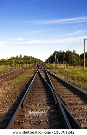 the rails of the railway which are crossing with each other. Belarus