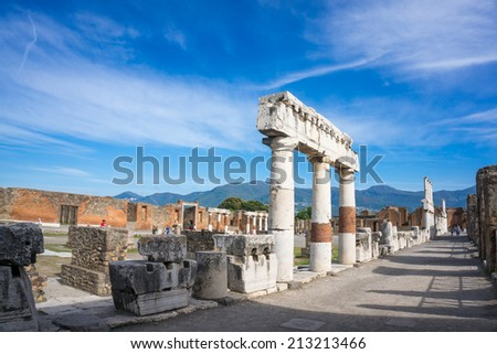 The ruins of  ancient Roman town Pompeii that was completely destroyed in 79 AD by the eruption of Mount Vesuvius. - stock photo