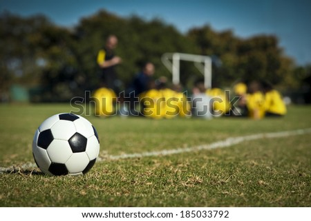 """""""The Soccer Team"""" coaching young people in sport - stock photo"""