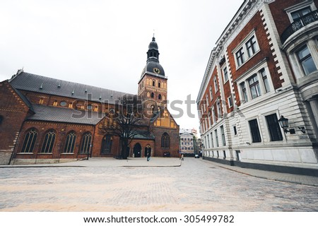 the streets of Riga in Latvia houses and cafes - stock photo